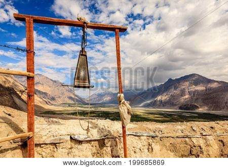 Buddhist gong at Diskit Monastery overlooking Nubra Valley in Ladakh, Kashmir, India