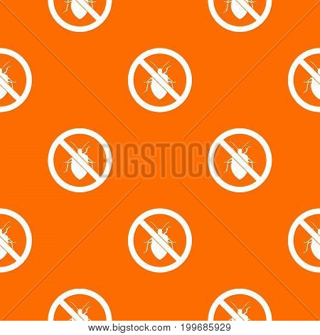 No bug sign pattern repeat seamless in orange color for any design. Vector geometric illustration