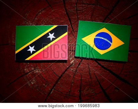 Saint Kitts And Nevis Flag With Brazilian Flag On A Tree Stump Isolated