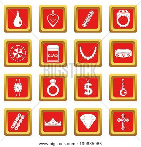 Jewelry items icons set in red color isolated vector illustration for web and any design