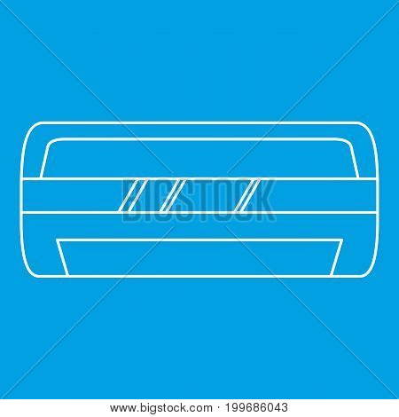 Modern air conditioner icon blue outline style isolated vector illustration. Thin line sign