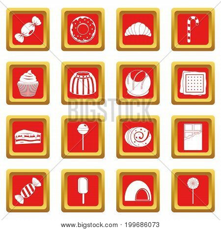 Sweets and candies icons set in red color isolated vector illustration for web and any design