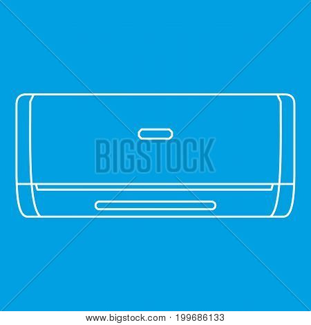 Air conditioner machine icon blue outline style isolated vector illustration. Thin line sign