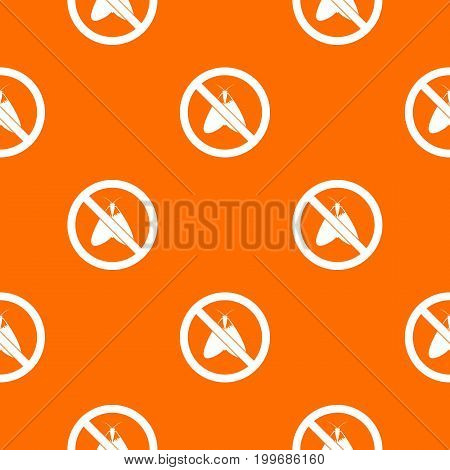 No moth sign pattern repeat seamless in orange color for any design. Vector geometric illustration