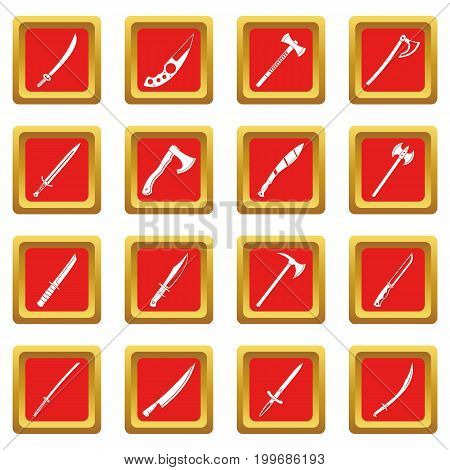 Steel arms symbols icons set in red color isolated vector illustration for web and any design