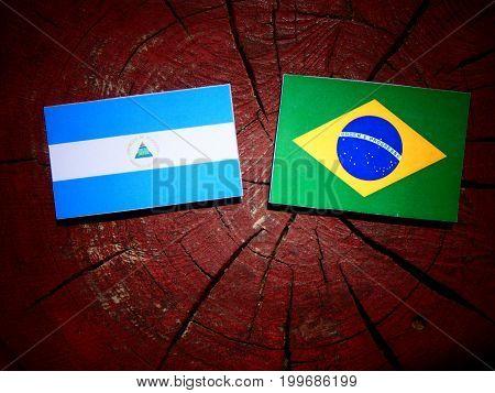 Nicaraguan Flag With Brazilian Flag On A Tree Stump Isolated