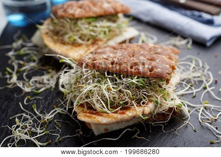 Two sandwiches with grilled turkey meat, slice of cheese, and leek sprouts on a slate cutting board