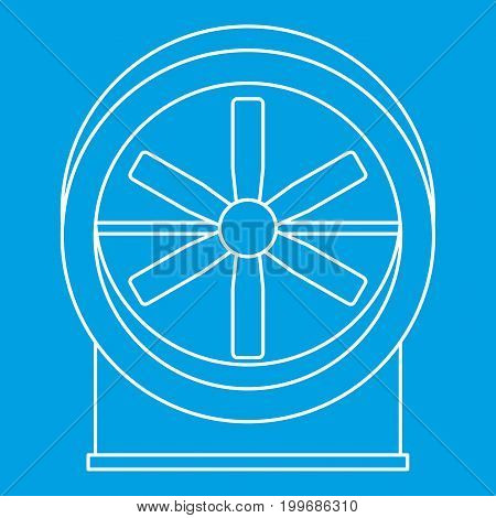 Fan with twist mechanism icon blue outline style isolated vector illustration. Thin line sign
