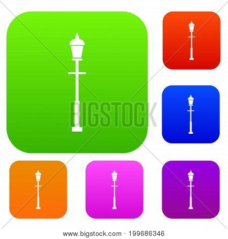 Lantern set icon in different colors isolated vector illustration. Premium collection