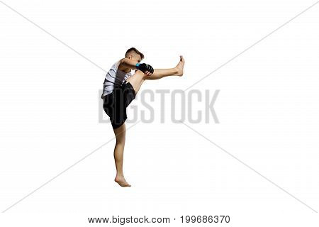 The portrait of teenager boy training and boxing.