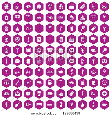 100 beer party icons set in violet hexagon isolated vector illustration