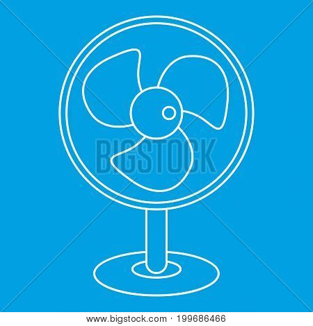 Electric table fan icon blue outline style isolated vector illustration. Thin line sign
