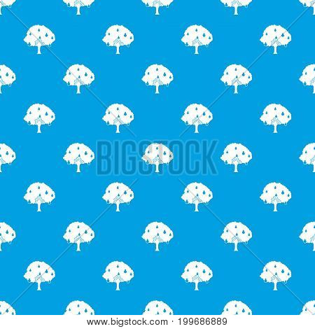 Pear tree with pears pattern repeat seamless in blue color for any design. Vector geometric illustration