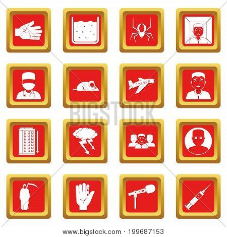 Phobia symbols icons set in red color isolated vector illustration for web and any design