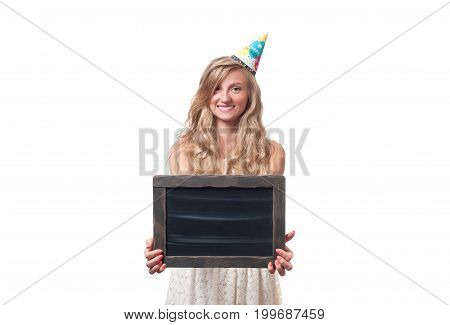 Beautiful Happy Girl With Gift Box At Celebration Birthday Party.
