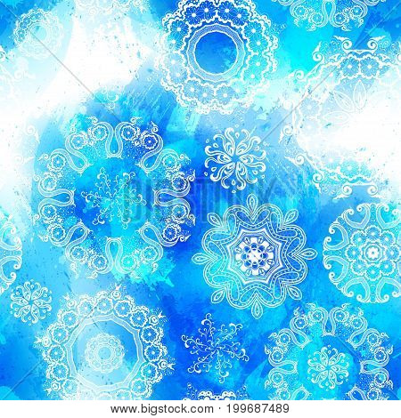 Vector seamless watercolor splash texture. Hand-drawn blob spot. Winter Christmas and New Year xmas theme. Blue colors abstract background. Snowfall. Silhouettes of snowflakes. Winter seasonal texture.