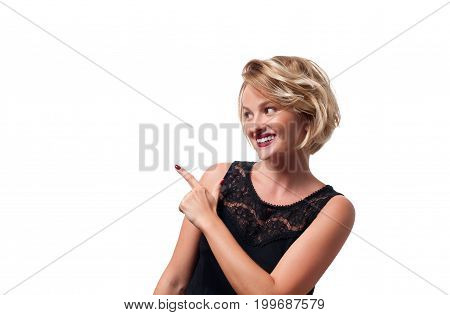 Happy Young  Woman Pointing Up.