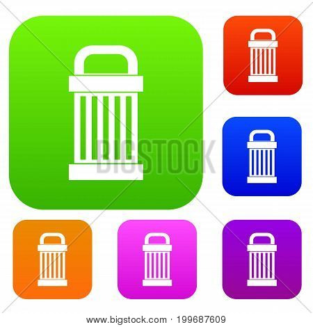 Trash set icon in different colors isolated vector illustration. Premium collection