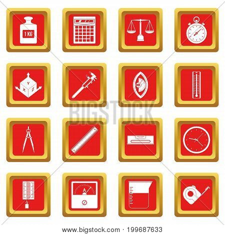 Measure precision icons set in red color isolated vector illustration for web and any design