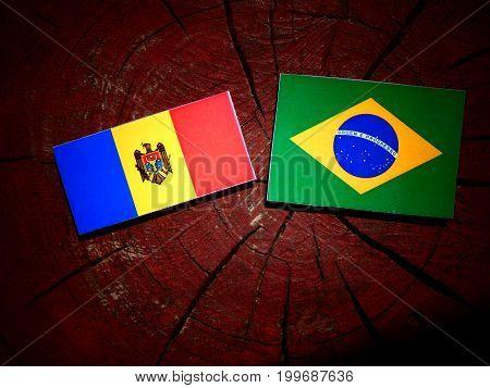Moldovan Flag With Brazilian Flag On A Tree Stump Isolated