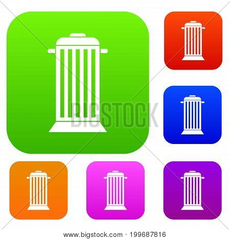 Street trash set icon in different colors isolated vector illustration. Premium collection
