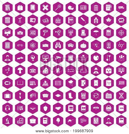 100 book icons set in violet hexagon isolated vector illustration