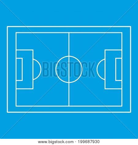 Football pitch icon blue outline style isolated vector illustration. Thin line sign