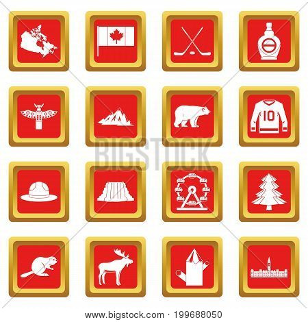 Canada travel icons set in red color isolated vector illustration for web and any design