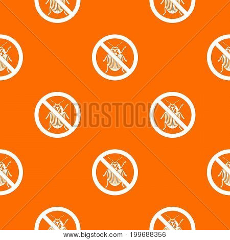 No potato beetle sign pattern repeat seamless in orange color for any design. Vector geometric illustration