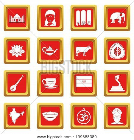 India travel icons set in red color isolated vector illustration for web and any design