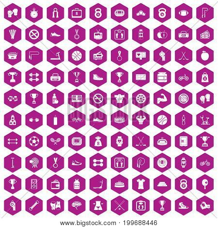 100 boxing icons set in violet hexagon isolated vector illustration