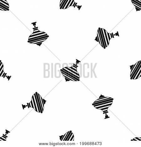Carousel humming top pattern repeat seamless in black color for any design. Vector geometric illustration
