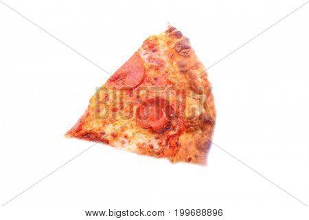 Pepperoni Pizza. Fresh Baked Pepperoni Pizza slice isolated on white.