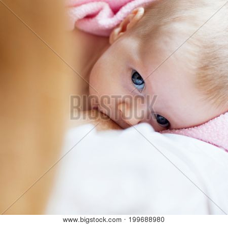 Mother with newborn at home. Brestfeeding.