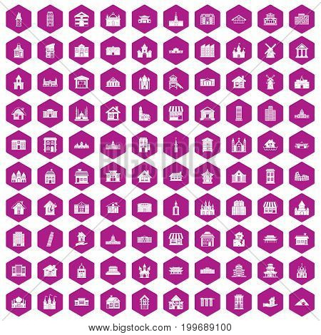 100 building icons set in violet hexagon isolated vector illustration