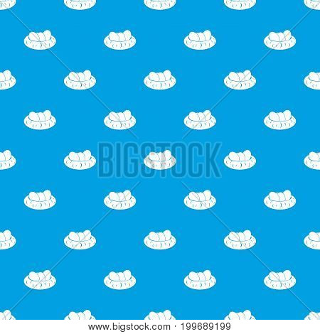 Eggs in the nest pattern repeat seamless in blue color for any design. Vector geometric illustration