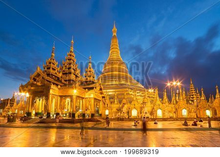 Shwedagon Pagoda at night in Yangon, Myanmar.