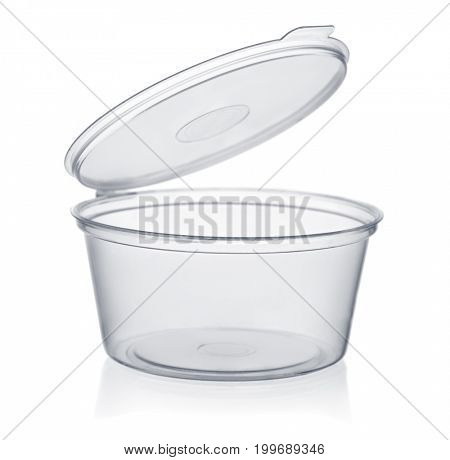 Plastic disposable sauce cup isolated on white