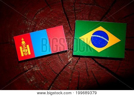 Mongolian Flag With Brazilian Flag On A Tree Stump Isolated