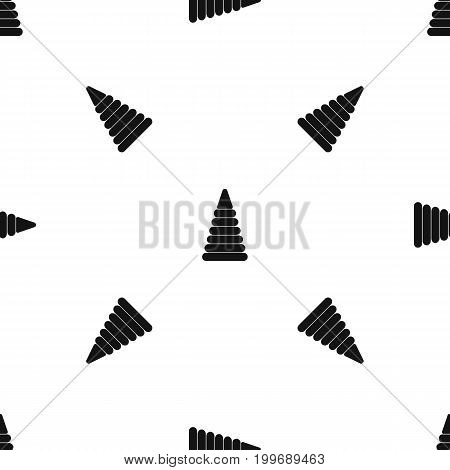 Pyramid built from plastic rings pattern repeat seamless in black color for any design. Vector geometric illustration