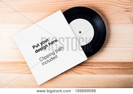 Blank Vinyl Cover Template On White Wall Background