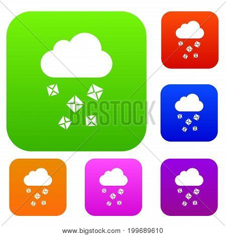 Cloud and hail set icon in different colors isolated vector illustration. Premium collection