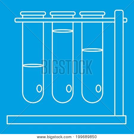 Three beakers icon blue outline style isolated vector illustration. Thin line sign