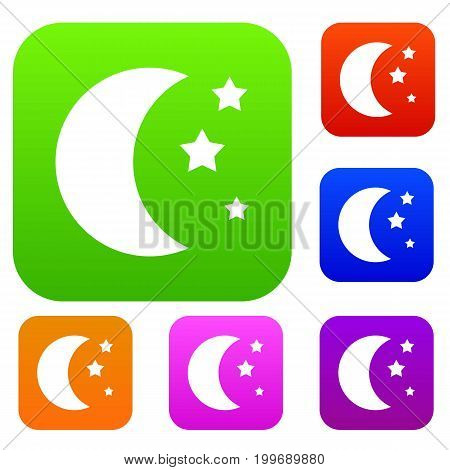 Moon and stars set icon in different colors isolated vector illustration. Premium collection