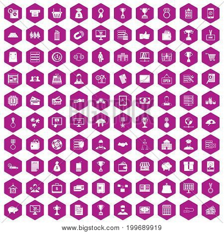 100 business icons set in violet hexagon isolated vector illustration
