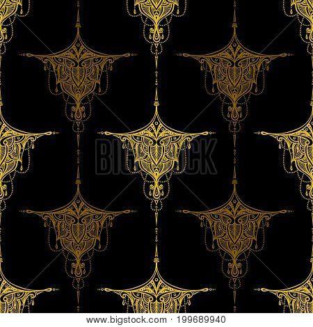 Abstract seamless pattern by decorative element gold on black