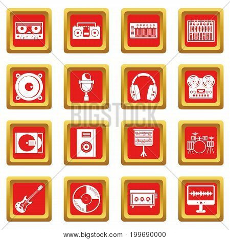 Recording studio items icons set in red color isolated vector illustration for web and any design