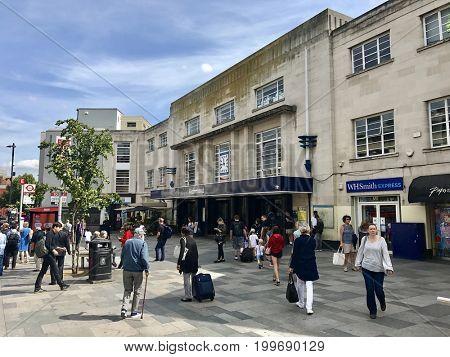LONDON - AUGUST 14, 2017: Pedestrians outside Richmond Train Station in Richmond, London, UK.