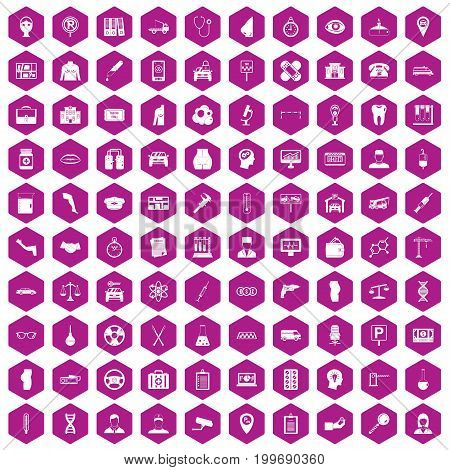 100 business day icons set in violet hexagon isolated vector illustration