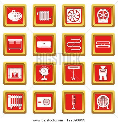 Heating cooling air icons set in red color isolated vector illustration for web and any design